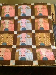 Whimsical Baby Cow Quilt I made for my grand daughter