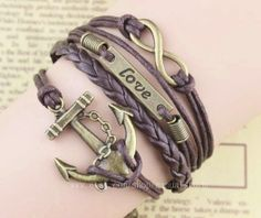 Dark brown wax rope braided bracelet anchor & by manualstorm, $4.59