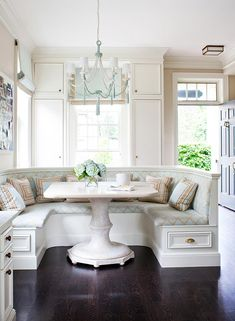 Breakfast nook, love the cushions and pillows as inspiration for bay window.