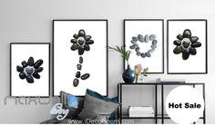 Stone Flower Heart Shape Grey Canvas Prints Wall Decals Art Decor Unframed IDCCV-BO-000219