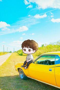 Park Chanyeol Exo, Kpop Exo, Baekhyun, Wallpaper Iphone Cute, Cartoon Wallpaper, Cute Wallpapers, Exo Imagines, Exo Cartoon, Exo Anime