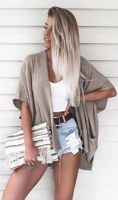 casual outfit inspiration / cardi + white top + bag + denim shorts