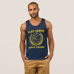 #gold - #Flat Earth World Champs 2017 NAVY GOLD EXCELLENT Tank Top