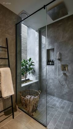 Minimalistic Scandinavian Bathroom terrace design ideas & photos Malaysia | Atap.co Cosy Bathroom, Small Bathroom Interior, Modern Small Bathrooms, Big Bathrooms, Master Bathroom, Apartment Bathroom Design, Bathroom Black, Bathroom Plants, Bathroom Small