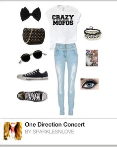 Fan inspired Polyvore board: One Direction Concert by me on Polyvore! | concerttickets.com #music #style This is really cute. i need this