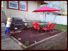 DIY Patio! With Rubber Mulch! 💗 Done In ONE Day! [2 Person