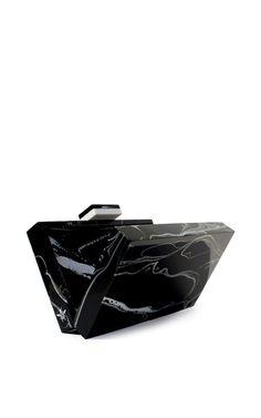 Marble black medium clutch by L'Afshar   Moda Operandi