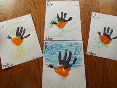 Letter Rr: Handprint Robin (from Like Mama ~ Like Daughter: Enchanted Childhood Preschool)