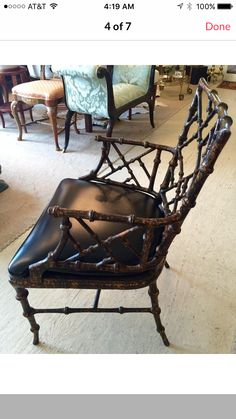 Fabulous vintage fretwork bamboo vintage chair with tortiseshell finish Asian Chairs, Bentley Interior, Campaign Furniture, Safari Chic, French Colonial, Town House, Faux Bamboo, Vintage Chairs, Florida Home