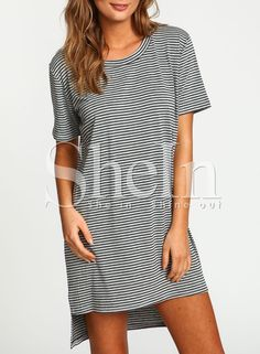 Grey Short Sleeve Striped High Low Dress -SheIn(Sheinside)