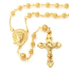This new 14K, gold-ionic plated Jesus Medallion and Crucifix Rosary features a high-polish finish to showcase the details of this piece. Each necklaces is made of brass and is decked out with 6mm holl