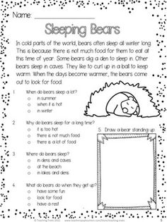 FREE winter reading comprehension passage. Sleeping bears!