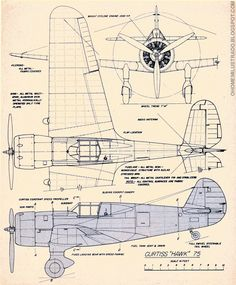Airplane blueprint Curtiss+Hawk+75.jpg 782×945 pixels