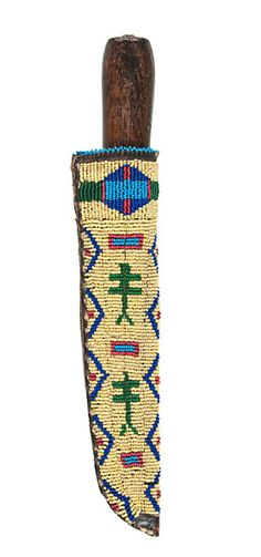 Cheyenne+Beaded+Pictorial+Knife+Sheath+(4/5/2013+-+American+Indian+Art+Auction)