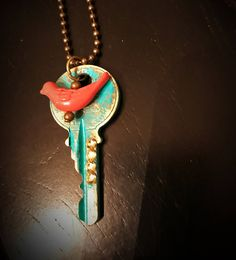 This hand patina brass upcycled key is full of rustic charm! Features a bird and crystal embellishments. Adjustable bronze ball chain, length made to order. Key Jewelry, Custom Jewelry, Beaded Jewelry, Jewelry Making, Jewlery, Antique Keys, Vintage Keys, Key Diy, Key Crafts