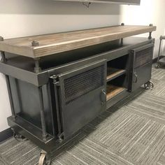 Check out the Pressfield media console and Credenza! Check out the Pressfield media console and Credenza! Welded Furniture, Industrial Design Furniture, Iron Furniture, Steel Furniture, Handmade Furniture, Cheap Furniture, Furniture Projects, Rustic Furniture, Furniture Design