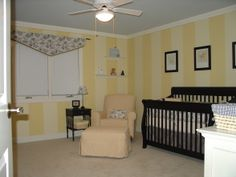 Yellow stripes for nursery - maybe just go halfway up the wall?