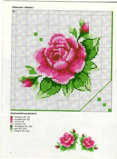 cross stitch rose good pattern to follow for my wall print idea...