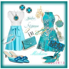 """""""Closet Manga Sailor Neptune and Casual Michiru"""" by acosmiccreation on Polyvore"""