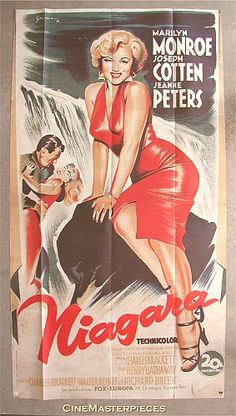 Niagara is an American 1953 film noir thriller  film directed by Henry Hathaway, and starring Marilyn Monroe, Joseph Cotten, Jean Peters, and Max Showalter https://en.wikipedia.org/wiki/Niagara_(film)