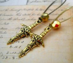 Excalibur Sword Charm Earrings  gift for her by lucindascharms, $9.00