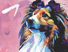 "Shetland Sheepdog Sheltie portrait giclee print of bright pop art painting 8.5x11"" LEA"