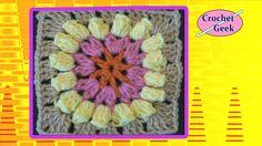 Crochet Granny Square Popcorn Flower Crochet Geek Free pattern