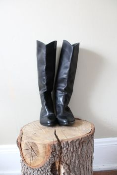 Black Leather Tall Riding Boots Size 8 by milkandcookiess on Etsy, $45.99