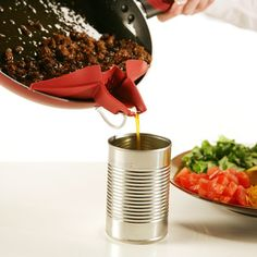 A clip-on spout that easily attaches to mixing and serving bowls, pots, pans, skillets, and double boilers for mess-free precision pouring and straining. It also doubles as a spoon rest and is crafted out of food-grade silicone, so it can withstand cooking temperatures up to 350˚ (set of 3)