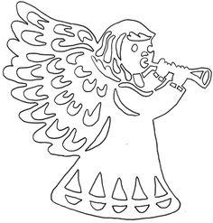Mikulášské vystřihovánky do okna Christmas Nativity, Christmas Angels, Christmas Crafts, Kirigami, Angel Outline, Diy Angels, German Folk, Angel Crafts, Scroll Saw Patterns
