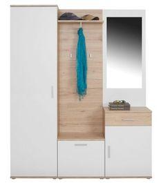 Előszoba fal; világos San Remo és fehér matt kivitelben, elemei: 1 oldalsó szekrény, 1 cipősszekrény, 1 fiókos komód, 1 kalaptartó, 1 tükör, 1 ruhaakasztó rúd, 3 ruhaakasztó Szé/Ma/Mé:kb.150/190/30cm