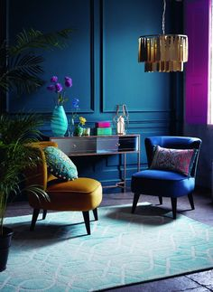 Styling for Debenhams Homes Matthew Williamson collections. By Rebecca de Boehmler. Photography by Chris Everard. Interior Wall Colors, Room Interior, Interior Design, Blue Rooms, Blue Walls, Deco Spa, Living Furniture, My New Room, Room Colors