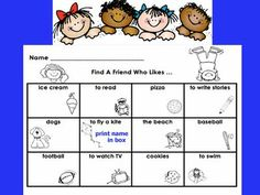 Find a Friend activities for the first days of school with easy words to read for young elementary and free printables Back 2 School, Beginning Of The School Year, New School Year, Summer School, School Days, Starting School, School Stuff, Sunday School, High School