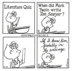 First Appearance: April 6th, 1978 #peanutsspecials #ps #pnts #schulz #sallybrown #literature #quiz #marktwain #write #tomsawyer #probably #evenings www.peanutsspecials.com