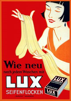 'As New After Each Wash with Lux Soapflakes' c.1920s http://www.vintagevenus.com.au/products/vintage_poster_print-pr190