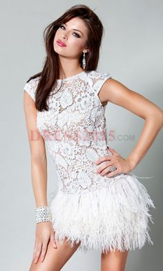 White Prom Dresses Short Tail Dress Lace Silver