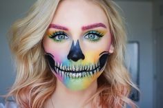 Rainbow skull makeup. @sadieshill_makeup