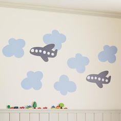 The Land of Nod | Kids' Wall Decals & Wallpaper: Kids Airplane Wall Decal Stick Ons in Wall Decals