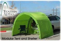 """Tentris™ ArcHaus™ Modular Tent: A tent that attaches to the back, opened, of your truck or SUV. Perfect for simply tailgating (in either the rain or sun, for protection) or for camping to sleep in the car but a covered area """"tent"""" outside the bed. Suv Camping, Cheap Camping Tents, Camping Guide, Camping Essentials, Camping Hacks, Outdoor Camping, Camping Spots, Camping With Kids, Family Camping"""