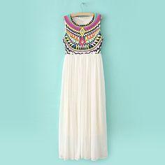 Ruffled Scoop Neck Sleeveless Special Print Bohemian Style Chiffon Women's Maxi Dress, WHITE, ONE SIZE in Chiffon Dresses | DressLily.com