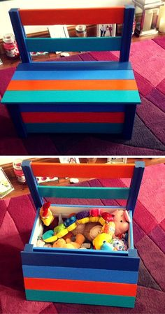 Colorful Pallet Toy Box and Chair - #99Pallets