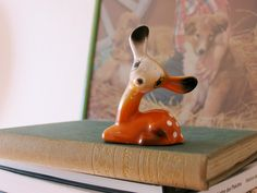 orange ceramic deer, vintage