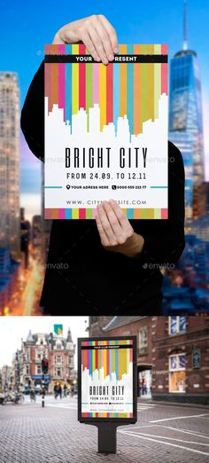 Bright City Poster Template  — PSD Template #city poster #white • Download ➝ https://graphicriver.net/item/bright-city-poster-template/18017408?ref=pxcr
