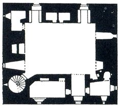 floor plan of Comlongon Castle, a 15th century Scottish tower house, shows subsidiary rooms and a stair contained within the thick walls of a single central room.  The main room is so dominant, clearly defined and undisturbed by its surrounding support spaces that the castle retains the sense of a one room building.  Louis I. Kahn saw in it a way to provide services without compromising the integrity of primary spaces.