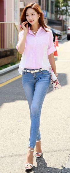 StyleOnme_Light Blue Wash Skinny Jeans