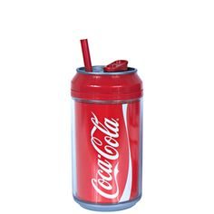 12oz coolgearcan™ with coca-cola® graphics and straw in red and white at Cool Gear Licensed Products/Coca-Cola