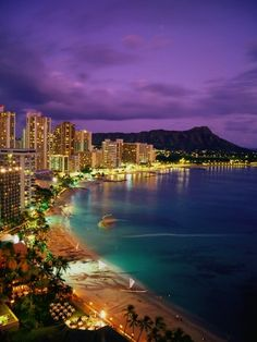 Waikiki Beach, Oahu, Hawaii: I was 3 the first time we went to Hawaii. I loved Waikiki Beach at night when I was little. We went quite a bit. I got married on Maui and have been to all of the islands except for Molokai and Lanai. My favorite island is Mau Honolulu Hawaii, Maui, Waikiki Beach, Hawaii Usa, Aloha Hawaii, Hawaii Beach, Hawaii Honeymoon, Vacation Places, Vacation Destinations