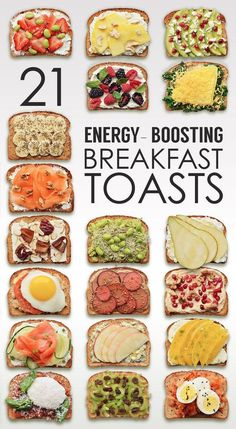 21 Ideas For Energy-Boosting Breakfast Toasts Energy Boosting Ideas for Breakfast Toast Toppings. Breakfast doesn't have to be boring. Spread your toast with all sorts of good stuff and seize the day! 21 Ideas for Breakfast Toast - Favorite Pins Diet plan Comidas Fitness, Breakfast And Brunch, Breakfast Healthy, Breakfast Energy, Healthy Breakfasts, Ideas For Breakfast, Breakfast Pictures, Eating Healthy, Healthy Breakfast Recipes For Weight Loss