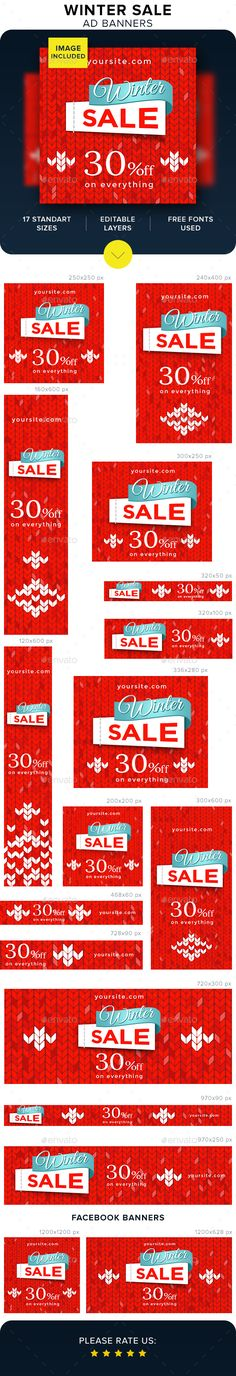 Winter Sale Ad Banners Template PSD #webbanners #ads
