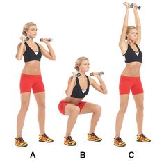 Thruster- Hold a pair of dumbbells just above your shoulders (A).Bend your knees into a squat, with your thighs parallel to the floor (B). Push yourself up, pressing the weights straight up as you stand (C).Pause, then lower them to your shoulders.That's 1 rep.